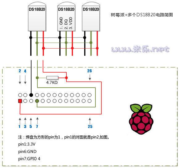 树莓派+多个ds18b20电路简图